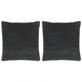 vidaXL Kissen 2 Stk. Chindi Schwarz 45 x 45 cm Leder und Baumwolle