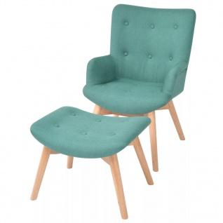 vidaXL Sessel mit Fußhocker Stoff Grün
