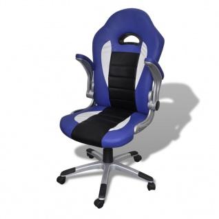 Bürosessel Bürostuhl Drehstuhl Chefsessel Kunstleder Office Blau - Vorschau 4