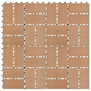 vidaXL Terrassenfliesen 11 Stück WPC 30 x 30 cm 1 qm Teakholzfarbe