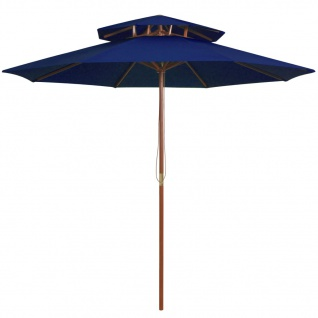 vidaXL Sonnenschirm mit Doppeldach und Holzmast Blau 270 cm