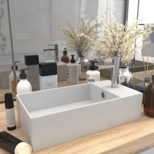 vidaXL Badezimmer-Waschbecken mit Überlauf Keramik Matt Weiß