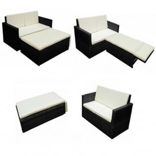 vidaXL 2-tlg. Garten-Lounge-Set mit Auflagen Poly Rattan Schwarz - Vorschau 4