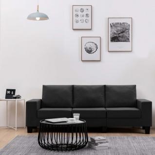 vidaXL 3-Sitzer-Sofa Schwarz Stoff - Vorschau 1