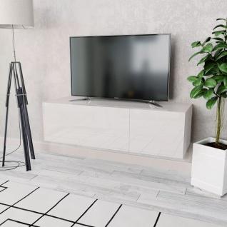 vidaXL TV-Schrank Spanplatte 120 x 40 x 34 cm Hochglanz Weiß