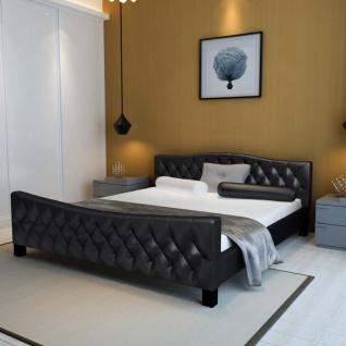 vidaXL Bett mit Matratze Schwarz Kunstleder 180×200 cm