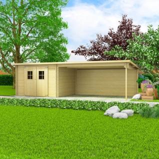 vidaXL Blockhaus Gartenschuppen Massivholz 28 mm 7, 3 x 3 m