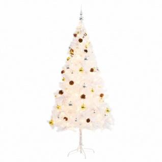 vidaXL Künstlicher Weihnachtsbaum Geschmückt Kugeln LEDs 180 cm Weiß