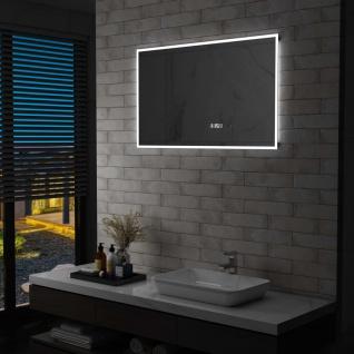 vidaXL LED-Badspiegel mit Touch-Sensor und Zeitanzeige 100×60 cm