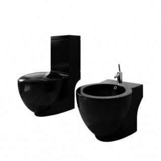Stand-Toilette/WC WC Sitz+Stand-Bidet Bodenstehend schwarz