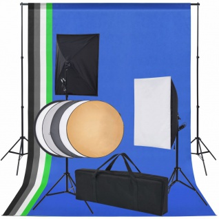 vidaXL Fotostudio-Set 5 farbige Hintergründe & 2 Softboxen
