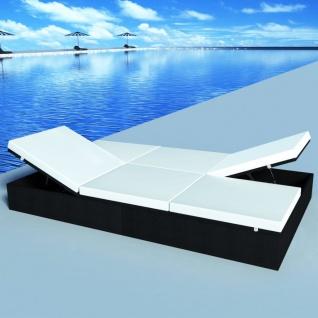vidaXL Doppel-Sonnenliege mit Auflage Poly Rattan Schwarz