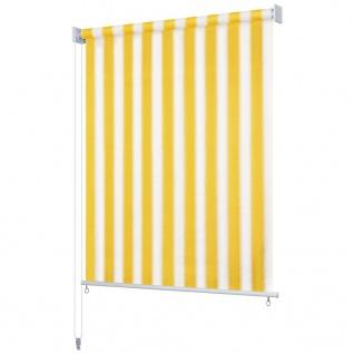 vidaXL Außenrollo 100 x 140 cm Gelb und Weiß Gestreift