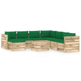 vidaXL 9-tlg. Garten-Lounge-Set mit Kissen Grün Imprägniertes Holz