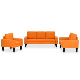 vidaXL Sofagarnitur 3-tlg. Stoff Orange