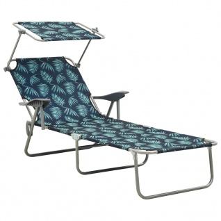 vidaXL Sonnenliege mit Sonnenschutz Stahl Blattmuster