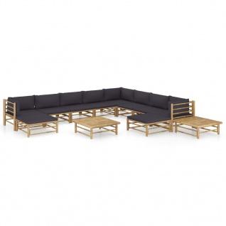 vidaXL 12-tlg. Garten-Lounge-Set mit Dunkelgrauen Kissen Bambus