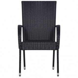 vidaXL Stapelbare Gartenstühle 6 Stk. Poly Rattan Schwarz - Vorschau 3