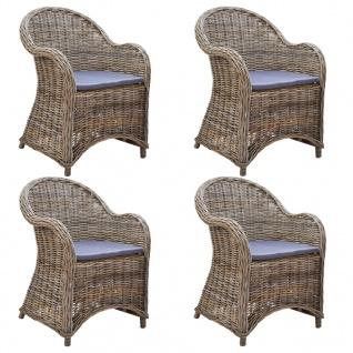 vidaXL Gartenstühle 4 Stk. mit Auflagen Natürliches Rattan