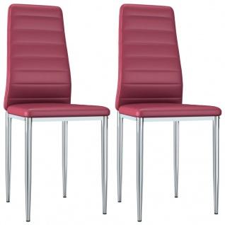 vidaXL Esszimmerstühle 2 Stk. Rot Kunstleder