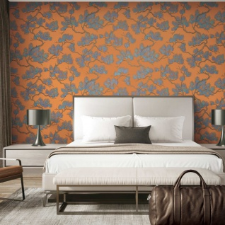 DUTCH WALLCOVERINGS Tapete Kiefer-Motiv Blau und Orange