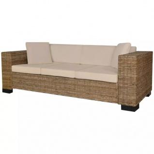 vidaXL 8-tlg. 3-Sitzer Sofa Set Echt Rattan
