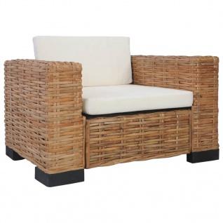 vidaXL Sessel mit Auflagen Natur Rattan