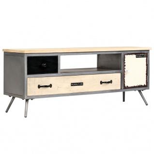 vidaXL TV-Schrank Mangoholz Massiv und Stahl 120 x 30 x 45 cm