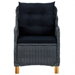 vidaXL 3-tlg. Garten-Lounge-Set mit Auflagen Poly Rattan Dunkelgrau - Vorschau 4