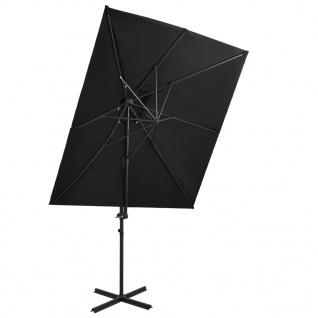 vidaXL Ampelschirm mit Lüftung Schwarz 250x250 cm