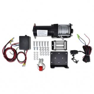 vidaXL Elektrische Seilwinde + Montageplatte Rollenführung 1360 kg 12V