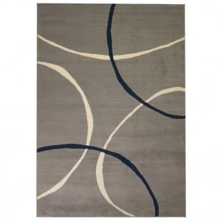 vidaXL Teppich Modern Kreise 140 x 200 cm Grau