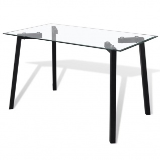vidaXL Esstisch mit Glasplatte und Schwarzen Tischbeinen