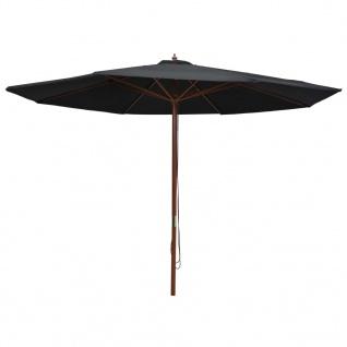 vidaXL Sonnenschirm mit Holzmast 350 cm Schwarz
