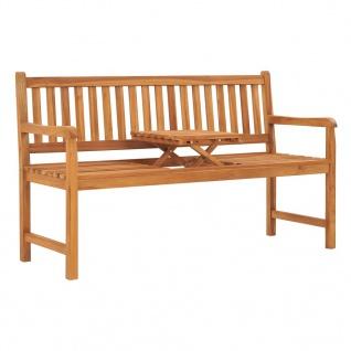 vidaXL 3-Sitzer Gartenbank mit Tisch 150 cm Teak Massivholz