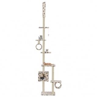 vidaXL Katzenbaum mit Sisal-Kratzsäulen 260 cm Beige Pfoten-Muster
