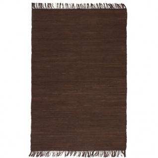 vidaXL Handgewebter Chindi-Teppich Baumwolle 120x170 cm Braun
