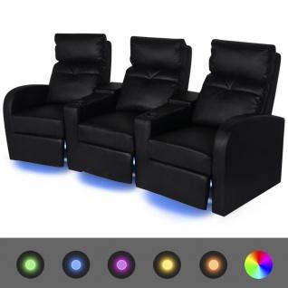 vidaXL LED-Ruhesessel 3-Sitzer Kunstleder Schwarz