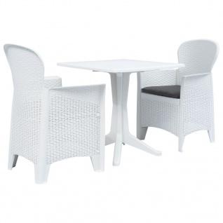 vidaXL 3-tlg. Bistro-Set Kunststoff Weiß