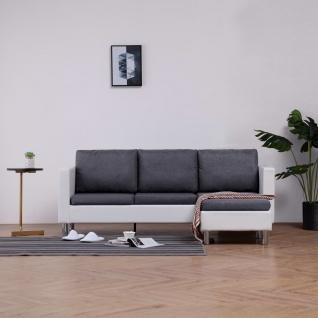 vidaXL 3-Sitzer-Sofa mit Kissen Weiß Kunstleder