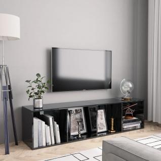 vidaXL Bücherregal/TV-Schrank Hochglanz-Schwarz 143×30×36 cm