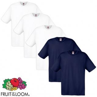 Fruit of the Loom Original T-Shirt 5 Stk 100% Baumwolle Weiß/Navy S