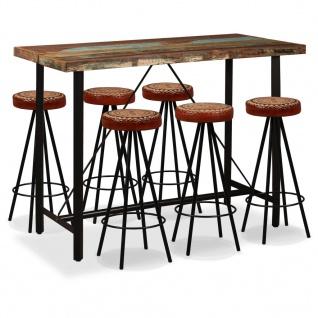 vidaXL Bar-Set 7-tlg. Altholz Massiv, Echtleder und Canvas