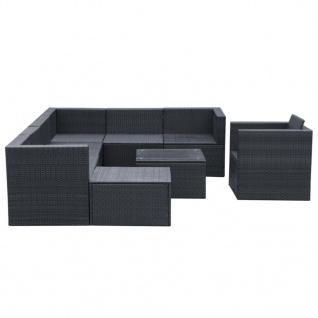 vidaXL 9-tlg. Garten-Lounge-Set mit Auflagen Poly Rattan Schwarz - Vorschau 4