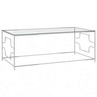 vidaXL Couchtisch Silbern 120x60x45 cm Edelstahl und Glas