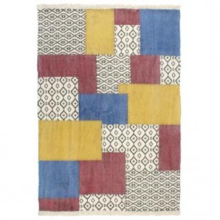 vidaXL Kelim-Teppich Handgewebt Baumwolle 120×180 cm Bedruckt