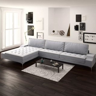 vidaXL Sofa in L-Form Vintage Stoff Hellgrau XXL 326 x 163 x 83 cm
