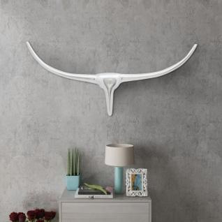 Aluminium Wanddekoration Stierkopf Geweih Silber 72 cm