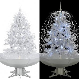 vidaXL Schneiender Weihnachtsbaum mit Schirmfuß Weiß 140 cm