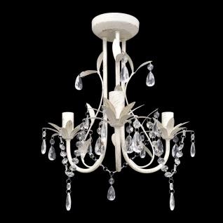 Kronleuchter Pendelleuchte Kristall Lampe Lüster Leuchte weiß - Vorschau 1
